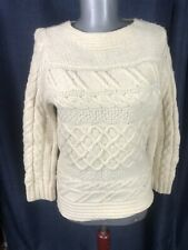 Paul James cable knit wool sweater Made in England STAY WORM S to M