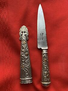 vintage ATAHUALPA TANDIL GAUCHO BOOT KNIFE ARGENTINA GERMAN NICKEL SILVER BRASS