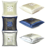 """Indian Floral Cushion Cover Silk Brocade Sofa Pillow Case Square Throw Cover 16"""""""