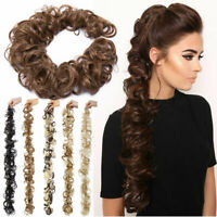 LARGE Wrap On Messy Bun Curly Ponytail Hair Piece Chignon Updo Hair Extension