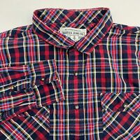 Nautica Button Up Shirt Men's Size 2XL XXL Long Sleeve Navy Red Plaid Cotton
