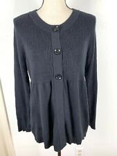 OH BABY MATERNITY WOMEN SIZE L BLACK 1/2 BLACK BUTTON UP SWEATER  2/23S