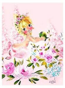Pink Mermaid Maebelle Greets Fish Quilt Block Multi Szs FrEE ShiPPinG WoRld WiDE