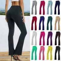 Women Foldover YOGA Pants Cotton Fitness Workout Comfy Long Wide Leg Trousers AM