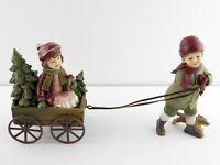 Gerson International 6 Inch Resin Children w Wagon Figurine Christmas XMas NWT