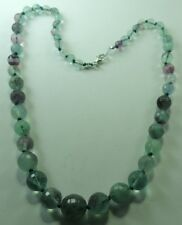 Necklace Graduated Hand Knotted Fluorite Sterling Silver Wedding Mother of Bride