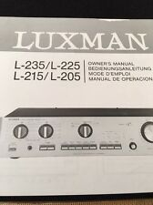 Luxman L-235 L-225 L-215 L-205 Stereo Integrated Amp Original Owners Manual