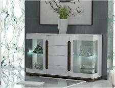 Lorenz High Gloss White Wide Sideboard Glass Door with LED Lights Lounge Furnit