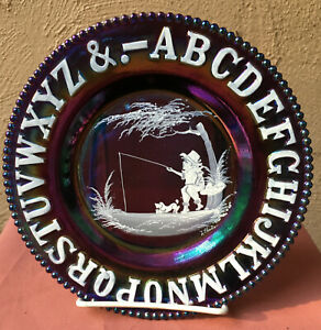 DARK CARNIVAL GLASS ALPHABET PLATE