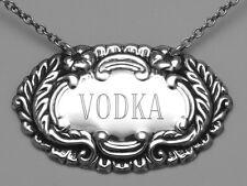 Vodka Liquor Decanter Label / Tag Sterling Silver Made in USA LL-601