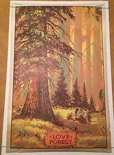 Vintage Blacklight Poster Love Forest 1970 Star City Pinup Headshop Ephemera Uv