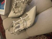 "Valentino Garavani Rockstud T-strap Leather Heels Ivory Size 42"""