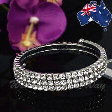 Rhinestone Silver Bracelet Wedding Diamante Deb Bridesmaid 3 Tier Crystal BR-2