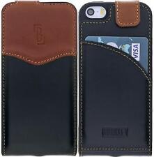 Apple iPhone SE/ 5S Lederhülle Handyhülle Schutzhülle Kartenfach Schwarz / Tabba