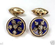 Antique Victorian Cufflinks Gold Plate Blue Guilloche Enamel Rhinestones