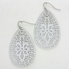 "Earrings Teardrop Cut Out Filigree SILVER 1.25"" Chandelier Drop Hanging Jewelry"