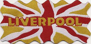 Liverpool Union Jack UK Flag Woven Badge Patch Motif 98mm x 48mm IRON ON