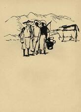 AUF DEM FELDE um 1950 CHINA Original Druckgraphik von Gustav SEITZ