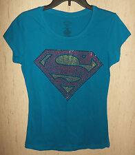 NWT WOMENS / JUNIORS SUPERMAN BLUE W/ BLING NOVELTY T-SHIRT SIZE L