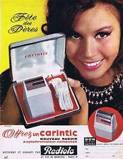 PUBLICITE ADVERTISING 114 1963 RADIOLA le nouveau rasoir Carintic