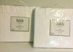 PiuBelle Cotton King Ruffled Matelasse Quilt White Coverlet Paisley NEW