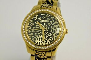 Guess Authentic Women's Gold Tone Leopard Crystals U0465L1 Watch