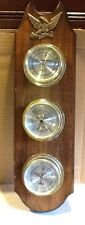 "Verichron Barometer Hygrometer Thermometer 3"" each on Wood"