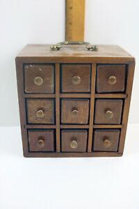 Vtg Handmade Wooden Spice Cabinet 9 Drawer Apothecary Jar Storage Chest Japan