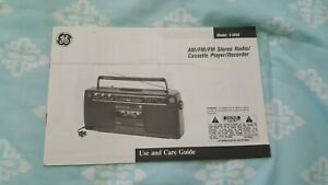 Use & Care Guide For GE~ AM/FM/FM Stereo Radio Cassette Player/Recorder