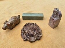 Asian Antiques,4 pc lot.,Stone,Chop, Dog, Scroll Weight, Amulet,1900-1940, China