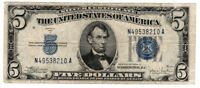 1934 $5 Silver Certificate,Large Blue Seal,  old money Nice!