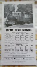 Steam train service timetable poster Isle of Man Railways 1972