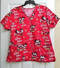 Women's Disney Mickey & Minnie Scrubs Top L/XL  Red Valentine Hearts