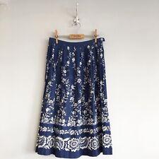 True Vintage 1950s Ornate Floral Print Contrast Border Cotton Skirt UK10 12