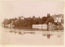 France, vue prise d'un fleuve, ville à identifier  Vintage albumen print,