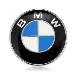 """2PCS BMW Front Hood Emblem Badge Logo Roundel 3.25"""" 82mm Grommets Blue US"""
