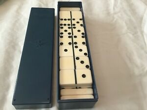Vintage Marblelike Dominoes Ivory in Vintage Whitman Container 1950's