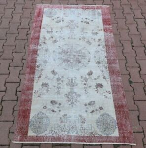Distressed Pale Color Vintage Carpet Anatolian Hand Knotted Oushak Rug 4x6 ft