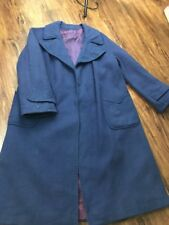 Vtg Womens 100% Pure Cashmere ACWA Navy trench Coat Union Made USA S/M