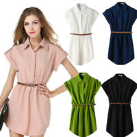 Fashion Women Summer Shirt Dress Formal Short Sleeves Office Short Mini Dresses