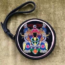 Mary Katrantzou Embroidered Leather Clutch Wristlet, Coin Purse, Pouch