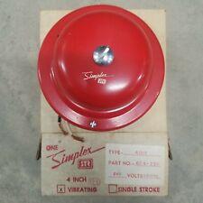 Simplex Str 4017 4 Red Vibrating Bell Part 624 231 240v Ac Vintage Nos W Mount