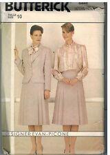 6448 UNCUT Butterick SEWING Pattern Misses Evan Picone Jacket Skirt Blouse 10 FF