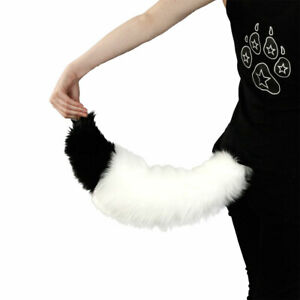 PAWSTAR Mini Fox Tail - White Furry Halloween Costume Cosplay Fursuit[WH/BK]3503