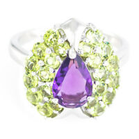 100% NATURAL 9X7MM AMETHYST & APPLE PERIDOT AAA+ STERLING SILVER 925 RING SIZE 8