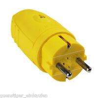AS Schwabe Gummi Stecker IP44 Gelb 230V/ 16A 2,5mm² Schukostecker Spritzwasser