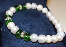Vintage Baroque Pearls w SWAROVSKI GREEN BEADS Bracelet