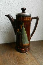 Antike Jugendstil Keramik Kanne Royal Doulton Silber Rand 1906
