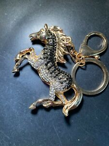 Fashion Women Horse Shaped Keychain Crystal Keyring Handbag Charm