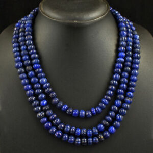 769 Cts Earth Mined 3 Line Blue Sapphire Flower Carved Beads Necklace JK 03E338